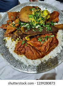 """A traditional kashmiri marriage style wedding dishes. Its known as """"Trami"""" and four people have in one trami"""