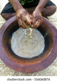 Traditional Kava the national drink of Fiji. Kava is a mildly narcotic drink made from mixing the powdered root of the pepper plant with water and results in a numb feeling and a sense of relaxation