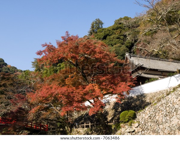 Traditional kendo doujou martial arts training place on the side of the mountain with autumn coloured trees and stone wall and near the famous Minoh waterfall sightseeing spot.