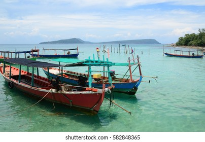 traditional khmer boats on the beach of Koh Rong Island near Sihanoukville, Gulf of Thailand, Cambodia