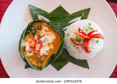 a traditional khmer curry of amok at and Restaurant in the old Town in the city of Siem Reap in northwest of Cambodia.   Siem Reap, Cambodia, November 2018