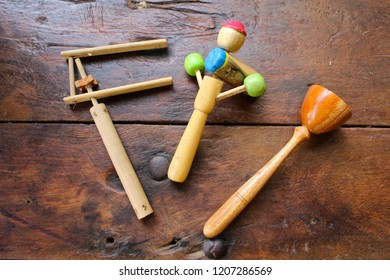 Traditional kids toys made from wood and bamboo