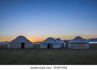 Traditional Kirghiz yurts camp at Song-Kol lake, Kyrgyzstan, central Asia.