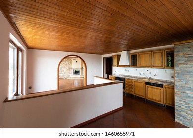 Traditional kitchen with terracotta and wood on the ceiling. Nobody inside