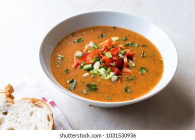 Traditional Konya Bulgur Soup Batirik with Sliced Cucumber, Tomatoes, Onion and Parsley