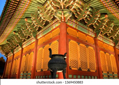 Traditional Korean architecture and an ancient decorative vessel at Junghwajeon Hall in Deoksugung Palace at Seoul, South Korea