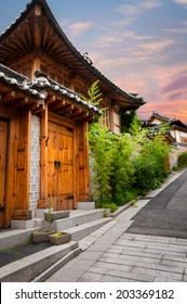 The traditional Korean architecture of Bukchon Hanok Village in Seoul, South Korea.
