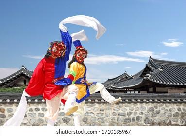 The traditional Korean Bongsan masked dance - Shutterstock ID 1710135967