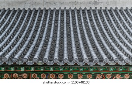 Traditional korean decor roof of village house in South Korea.