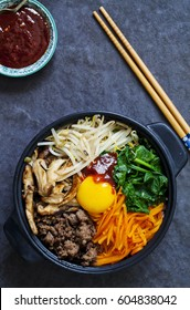 Traditional Korean dish- bibimbap: rice with vegetables and beef