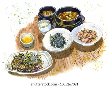 Traditional korean food. Soup, salads, beverages  on a wooden table. Asian cuisine, south korean famous dishes, meal time, tourism. Hand drawn sketchy watercolor illustration with drops and splashes.