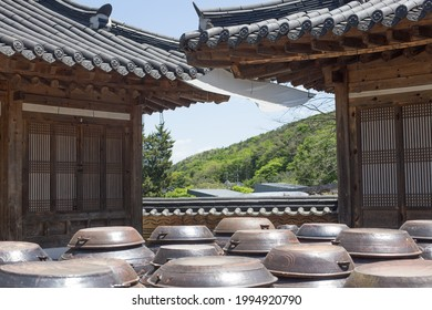 Traditional Korean House and Jangdokdae. platform for crocks of sauces and condiments