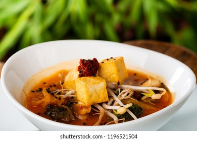 Traditional Korean Kimchi soup with Tofu