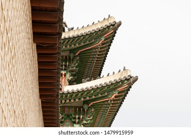Traditional Korean roof decoration, called Dancheong in Seoul, South Korea