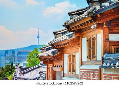 Traditional Korean style architecture at Bukchon Hanok Village in South Korea.