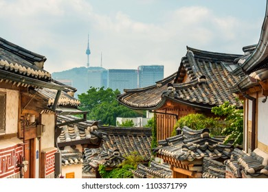 Traditional Korean style architecture at Bukchon Hanok Village in South Korea.