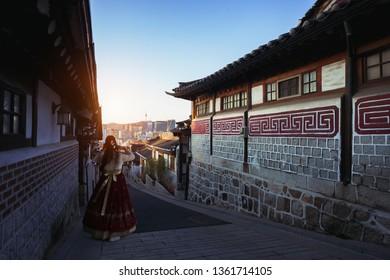 Traditional Korean style architecture. Bukchon Hanok Village, Seoul South Korea