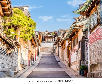Traditional Korean style architecture at Bukchon Hanok Village in Seoul, South Korea.Top Travel landmark  in Seoul Korea.