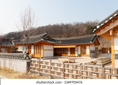 Traditional Korean style architecture at Hanok Village, South Korea. Traditional Korean house.