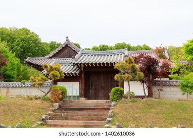 Traditional Korean style architecture at Hanok , South Korea. Traditional Korean house.
