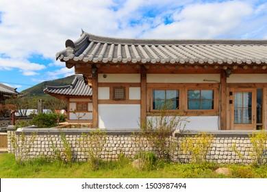 Traditional Korean style architecture at Hanok Village, South Korea. Traditional Korean house.