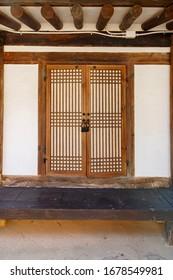 Traditional Korean style architecture at Hanok Village. Traditional Korean house. Traditional window of Hanok. Korean traditional window or Door.