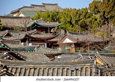 Traditional Korean style roof tops of Bukchon Hanok Village in Seoul, South Korea.