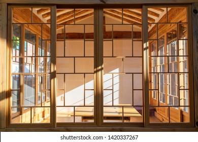 Traditional Korean Table and Beautiful Wooden Windows of Korean Home / Gallery in Historic Hanok Village - Seoul, South Korea