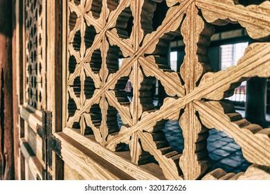 Traditional Korean window frame pattern. Vintage style
