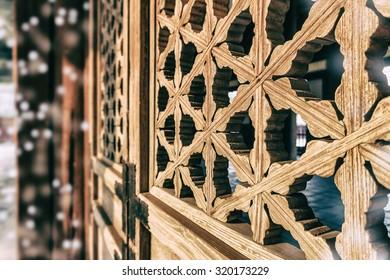 Traditional Korean window frame pattern. Bokeh effect