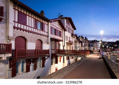 Traditional labourdine houses of Saint de Luz at night, Basque Country, France