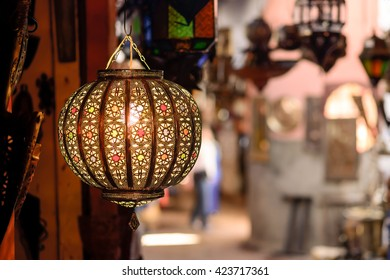 A traditional lamp on sale at a market stall in souks of Marrakech, Morocco.