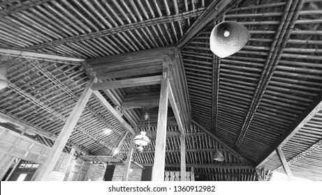 traditional lamp in the roof of joglo javanese house