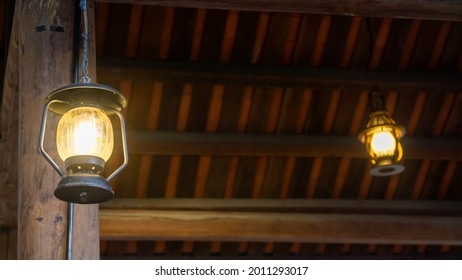 Traditional lamp use in old nipa hut house