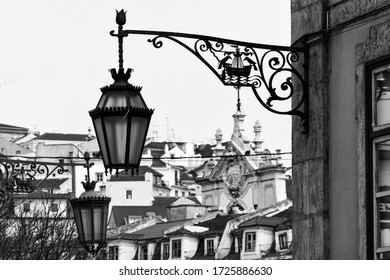 traditional lamps in an ancient city in southern europe