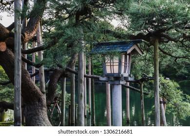 Traditional lantern in Kenroku-en garden in Kanazawa, Japan
