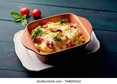 traditional  lasagna in a baking dish