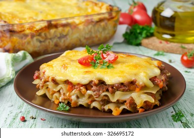 Traditional lasagna made with minced beef Bolognese