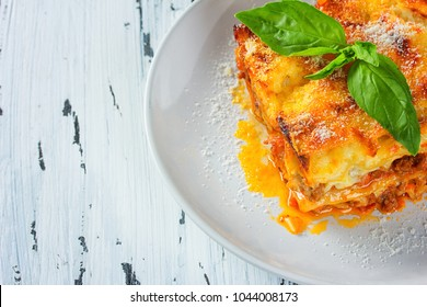 traditional lasagna with minced beef bolognese sauce