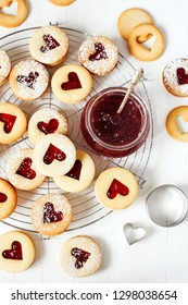 Traditional Linzer cookie with strawberry jam, top view