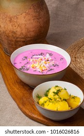 Traditional lithuanian cold beet pink soup, prepared of cucumber, beetrot, eggs and sour cream,  called saltibarsciai