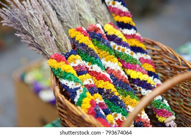 Traditional Lithuanian Easter palms known as verbos sold on Easter market in Vilnius. Lithuanian capital's annual traditional crafts fair is held every March on Old Town streets.