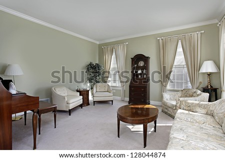 Traditional Living Room Olive Green Walls Stock Photo Edit Now