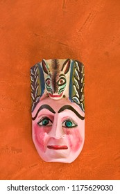 Traditional local handicraft carved and painted wooden mask, Oaxaca, Mexico