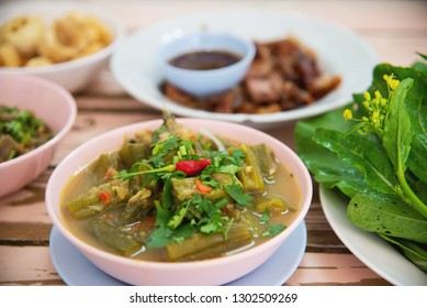 Traditional local Northern Thai style food meal - local Thai food concept
