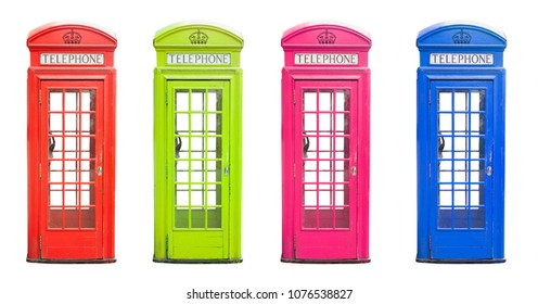 traditional London telephone cabin in many colors isolated on white