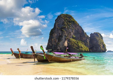 Traditional long tail boat on Ao Phra Nang Beach, Krabi, Thailand in a summer day
