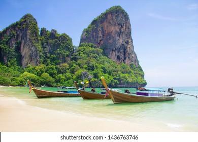 Traditional long tail boat on Ao Phra Nang Beach, Railay beach west, Ao Nang, Krabi, Thailand in a summer day