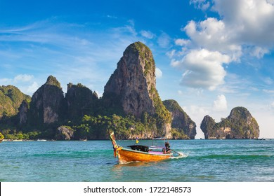 Traditional long tail boat on Railay Beach, Krabi, Thailand in a summer day