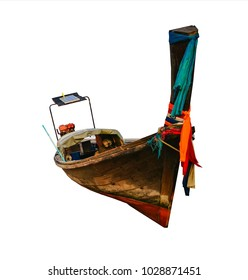 Traditional long tail boat in Thailand, isolated on white background